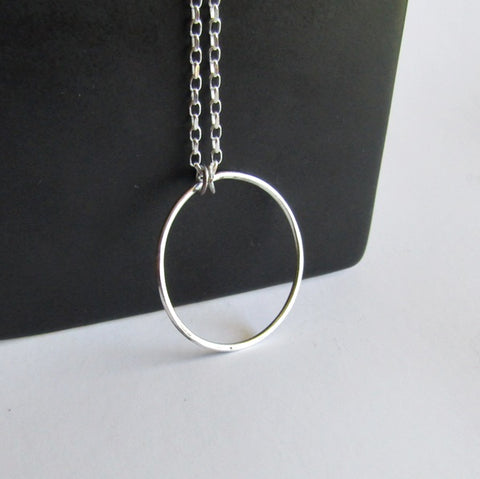 "Large Hoop Necklace - 18"" Chain"