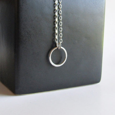 "Tiny Hoop Necklace - 16"" Chain"