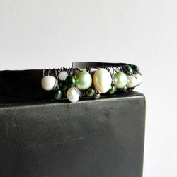 Pearl Wire Wrapped Cuff Bracelet - Green