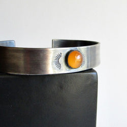 Carnelian Hand Stamped Sterling Silver Cuff