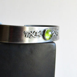 Peridot Cuff Bracelet with Filigree Detail