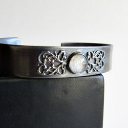 Moonstone and Filigree Sterling Silver Cuff - Made To Order
