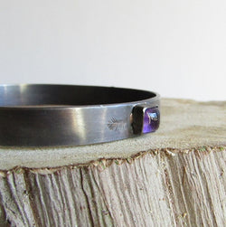 Amethyst and Rose Bangle Bracelet