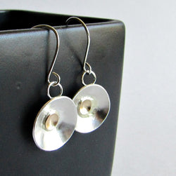 Sterling Silver and 14 K Gold Domed Disc Earrings