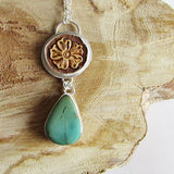 Royston Turquoise and Tooled Leather Necklace