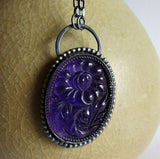 Purple Glass Floral Necklace