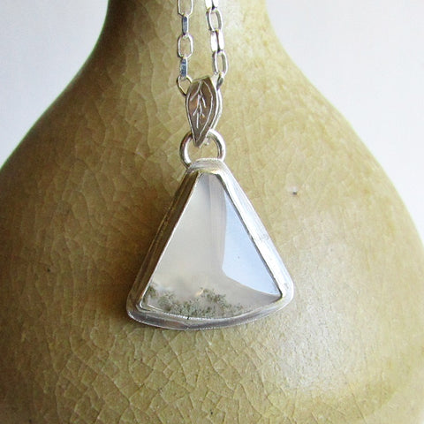 Moss Agate Necklace -Triangle