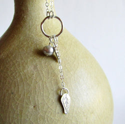 Gray Pearl Hoop Necklace with Leaves