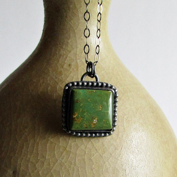 Square Green Royston Turquoise Necklace