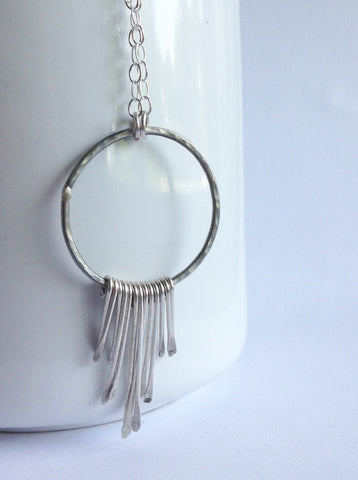Boho Style Sterling Silver Fringe Necklace