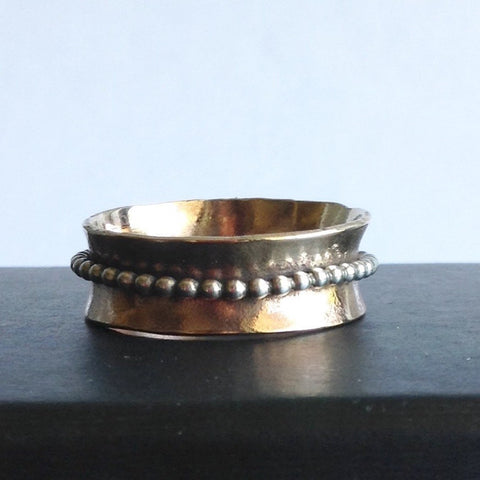 Hammered Bronze and Sterling Silver Spinner Ring