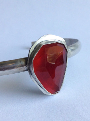 Faceted Carnelian Cuff Bracelet - Medium Size