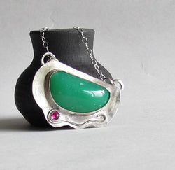 Chrysoprase and Lab Ruby Necklace
