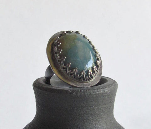 Green Fancy Jasper Statement Ring - Size 5