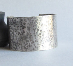 Wide Hammered Sterling Silver Cuff