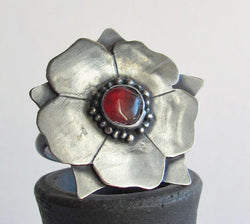 Carnelian Tudor Rose Statement Ring