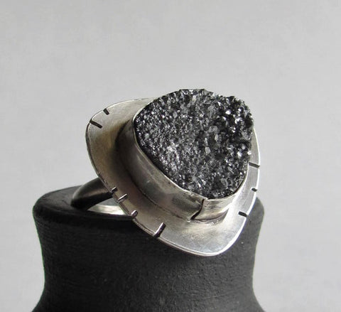 Silver Druzy Ring - size 8 Ring