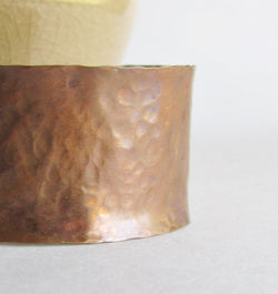 Hammered Curved Copper Cuff Bracelet - 9th Anniversary Gift