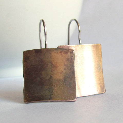 Bronze Minimalist Square Earrings - 19th Anniversary