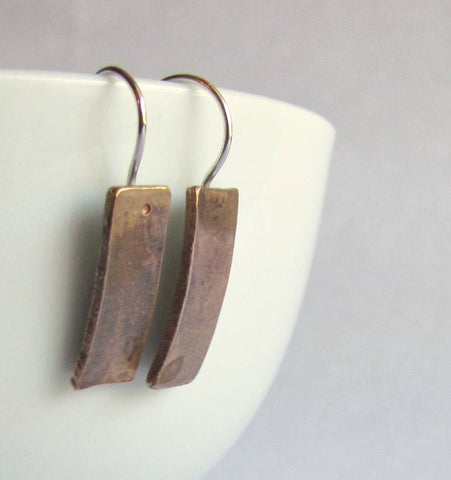 Modern Bronze Bar Earrings