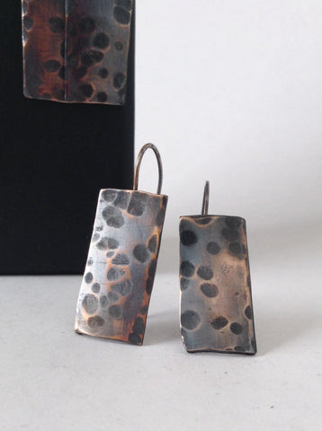 Hammered Bronze Earrings - 19th Anniversary Gift