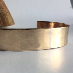 "Hammered Bronze Cuff Bracelet - 1/2"" Wide"