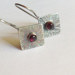 Garnet Sunburst Earrings