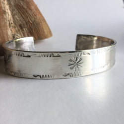 Hand Stamped Sterling Silver Cuff Bracelet