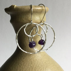 Hoop Earrings with Amethyst