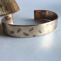 Hand Stamped Bronze Feather Cuff Bracelet