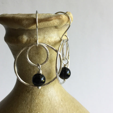 Black Onyx Double Hoop Earrings