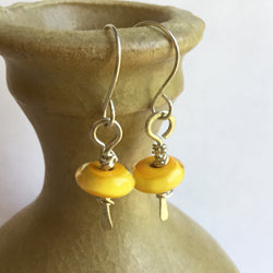 Yellow Lamp Work Earrings