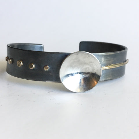Modern Sterling Silver and Gold Cuff Bracelet