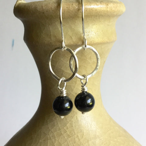 Small Hoop Earrings with Onyx