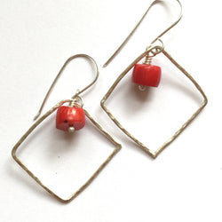 Hammered Square Hoop Earrings with Coral