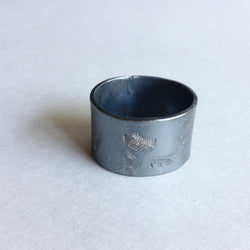 Wide Sterling Silver Feather Ring - Hand Stamped