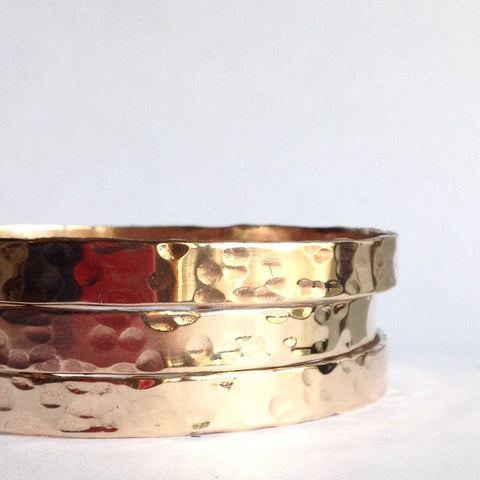 Hammered Bronze Bangle Bracelet
