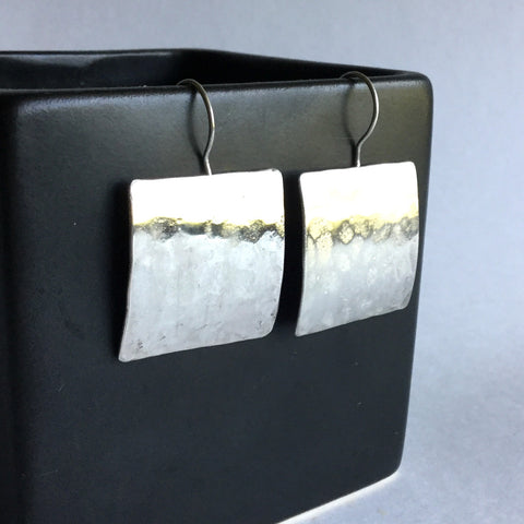Hammered Square Sterling Silver Earrings