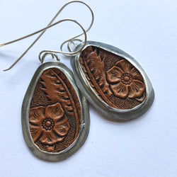 Tooled Leather and Silver Earrings