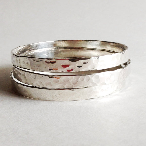 Hammered Bangle Bracelets in Sterling Silver