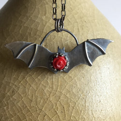 Bat Necklace with Red Rose