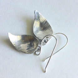 Textured Sterling Silver Leaf Earrings