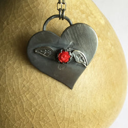 Heart with Rose and Leaves