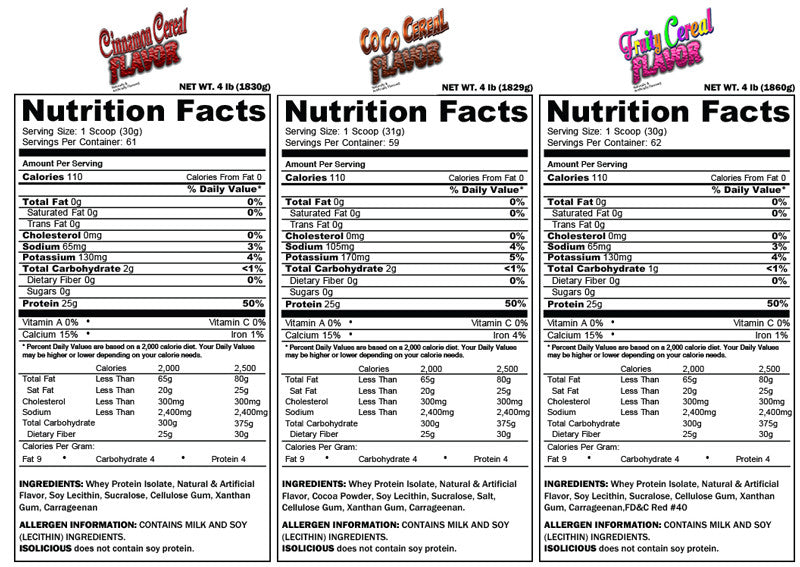 ISOLICIOUS 4LBS ALL FLAVORS SUPPLEMENT FACTS