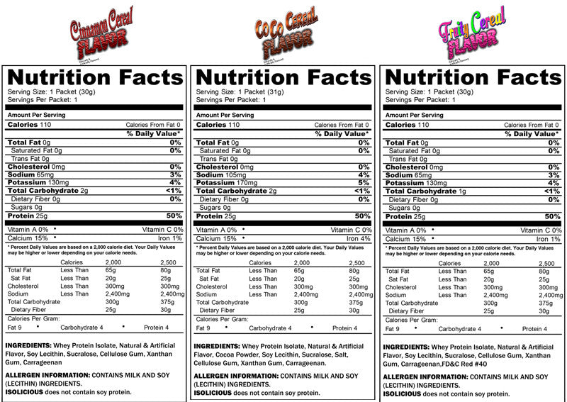 ISOLICIOUS SAMPLES ALL FLAVORS SUPPLEMENT FACTS