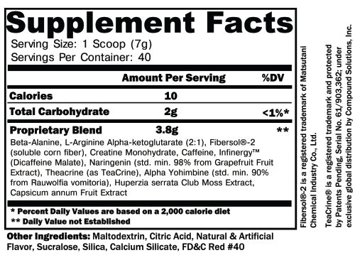 Noxipro Cherry Limeade Suppplement Facts