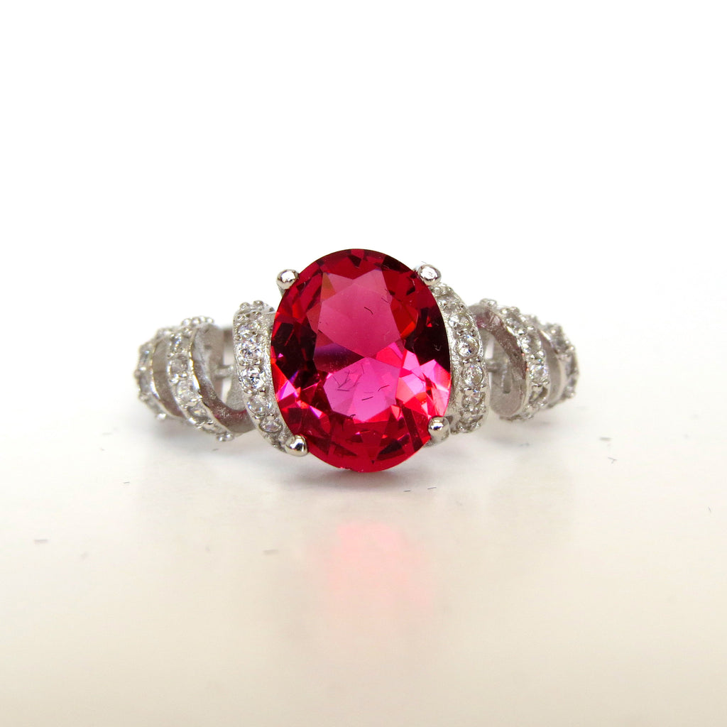Sterling Silver Ruby Red Beverley Ring - Sterling Candle