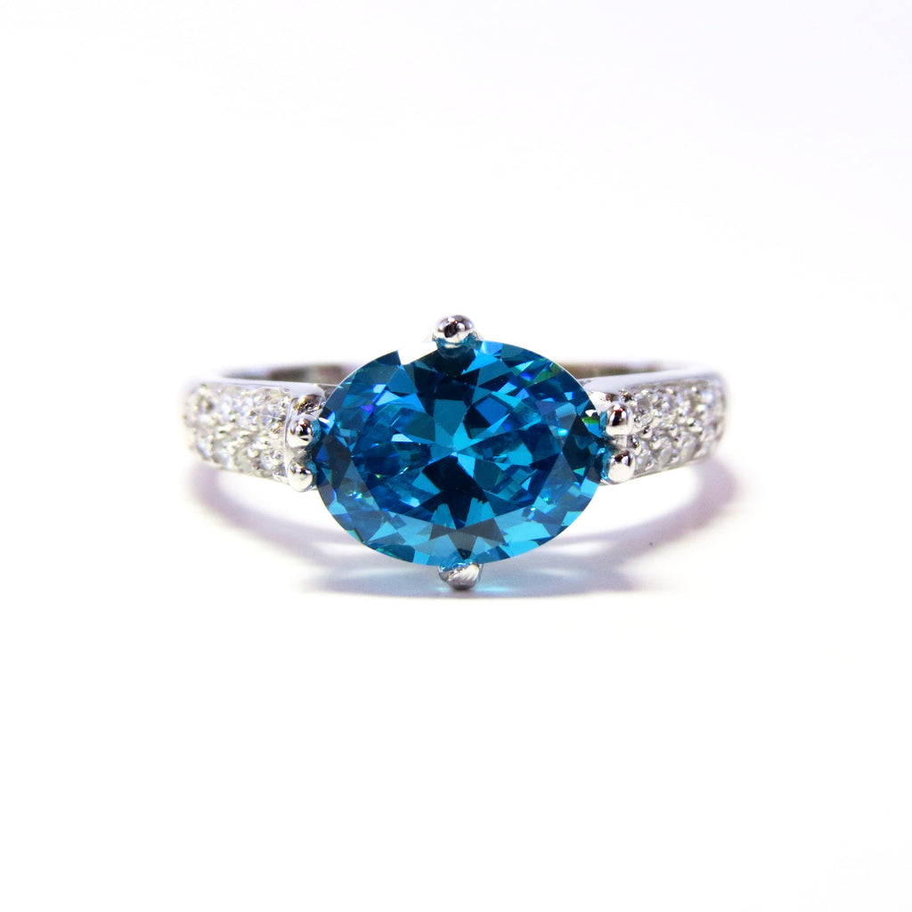Sterling Silver Blue Alvadora Ring - Sterling Candle