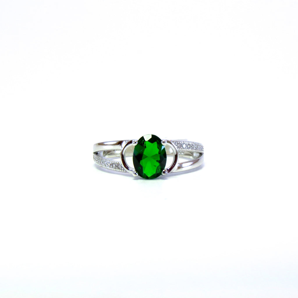 Sterling Silver Emerald Green Fausta Ring - Sterling Candle