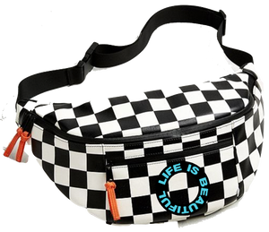 Checkerboard Slingbag w Leather Zip Pulls